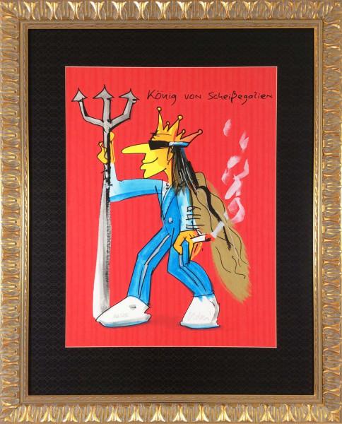 König von Scheißegalien (rot) im modern Nostalgie Goldrahmen, Passepartout schwarz strukturiert