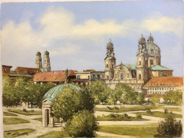 München, Hofgarten mit Blick auf die Theatinerkirche