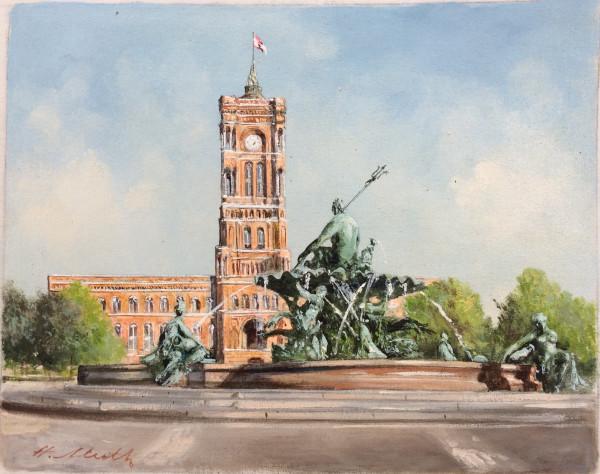 Berlin, Rotes Rathaus mit Neptun-Brunnen