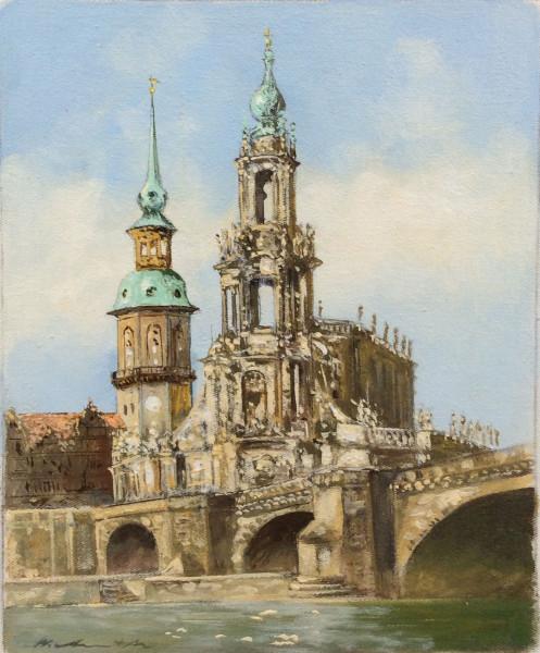 Dresden, Hofkirche mit Schloßturm