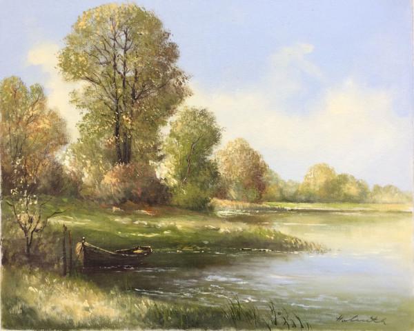 Landschaft mit Boot am See